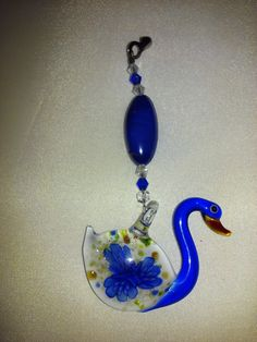 Cobalt Blue, Lampwork Swan, Crystal and Glass, Decorative, Ceiling Fan Pull, Light Pull by EarthDreamsbySunLi on Etsy