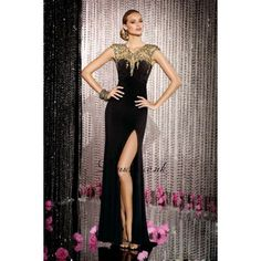 black+and+gold+long+formal+dress | Black Jersey Gold Beaded Long Prom Dress With High Slit - Prom Dresses ...