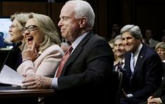 Front row (L to R): Elizabeth Warren, Hillary Clinton, John McCain; Back row: John Kerry -- Obama's Initiative for Global Islamization: How the Clintons Manufactured the Arab Spring Through the Muslim Brotherhood and the Creation of ISIS -- http://intellectualconservative.com/obamas-initiative-for-global-islamization-how-the-clintons-manufactured-the-arab-spring-through-the-muslim-brotherhood-and-the-creation-of-isis/