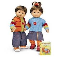 Playdate Outfits  $44 BTNO  Her embroidered sweater matches her skirt, daisy tights, Mary Janes, and hair scrunchie. His ribbed sweater and jeans look cute with green socks and orange high-tops. Both can wear the reversible vest. Their hardcover book tells a playful Bitty Twins story.    Released Fall 2004