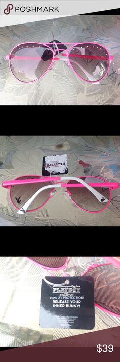 Nwt official playboy pink aviator sunglasses New with tags Authentic official pink aviator style pink sunglasses with clear Crystal detail on front sexy and chic on the face playboy Accessories Sunglasses