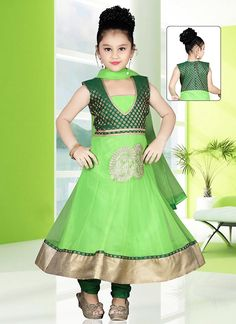 Readymade Green Net And Brocade Kids Anarkali Suit  #Readymade #Green #Net #Anarkali #Suit #KidsAnarkaliSuit #Kidswear #Silk Item Code-US$77.55