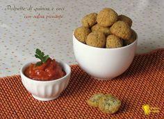 Polpette+di+quinoa+e+ceci+con+salsa+piccante,+ricetta
