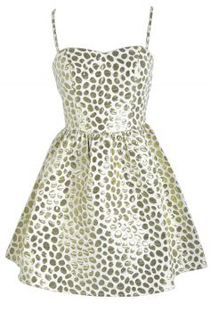 Structured Gold and Ivory Metallic Dot Designer Dress by Ark and Co. www.lilyboutique.com
