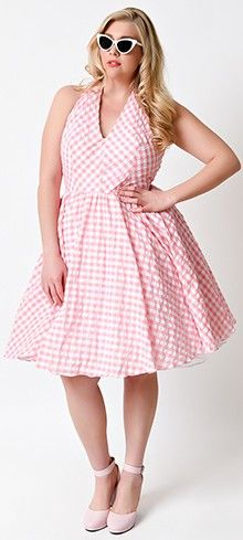 c4d98fe9fc9 Iconic by UV Plus Size 1950s Pink Gingham Halter San Vicente Swing Dress  Plus Size Vintage