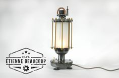 #L004 PUMP This table lamp is made of various motorparts, together with recovered parts of an old boiler. The glass is reused from an old pendant lamp. #steampunk #dieselpunk #lamp #upcyling #upcycled #upcycle #reused #repurposed #metal #upcyclingart #industrialliving #industrieelwonen #industrialinterior #scrapmetalart #scrapmetal #industriallamp #industrialdesign #industrial #industrialfurniture #custom #unique #reclaimed #vintage #interior #home #design #inspiration