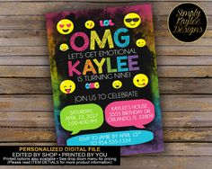 Emoji Birthday Party Invitations by SimplyKayleeDesigns on Etsy https://www.etsy.com/listing/512100581/emoji-birthday-party-invitations