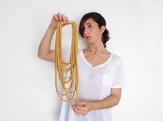 N E W - the funky layered necklace - handmade in golden fabric by birdienumnumshop on Etsy