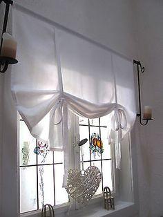 Gardine Raffrollo weiß 80/100/120/140/156 Landhaus Shabby Chic Vintage Retro