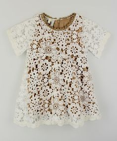 Brown & White Floral Lace Dress