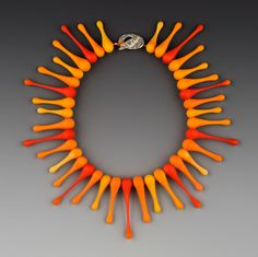 Darlene Durrwachter-Rushing 'Orange Dew-Drop Necklace' flameworked glass