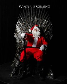 They showed an all day marathon of season one of The Game of Thrones here in Vancouver. They had the throne there for people to take pictures in. I went and got my Santa suit. Eddard Stark, Arya Stark, Game Of Thrones Winter, Watchers On The Wall, My Champion, Santa Suits, Iron Throne, Hawkgirl, Cultura Pop