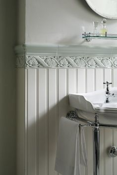 Love the tile on top of the beadboard.