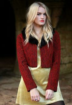 Red Glitter Jacket with Detachable Faux Fur Collar £38.00