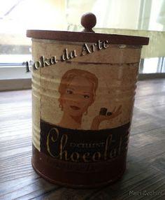 Lata decoupada chocolate - reciclagem