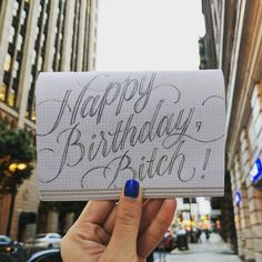 Happy Birthday bitch! by Jiajia Chen a bit strong but I like it, I like it a lot. Hand drawn lettering and typography inspiration.