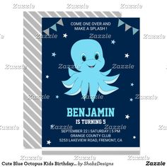 Cute Blue Octopus Kids Birthday Party Invitation Invite your guests with this cute birthday party invitation featuring an adorable little octopus with vibrant elements against a navy blue background. Simply add your event details on this easy-to-use template to make it a one-of-a-kind invitation. Flip the card over to reveal a gray and white stripes pattern on the back of the card.