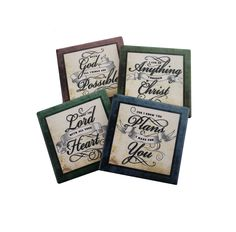 Inspire your guests in a Godly way with this Elegant Coaster set of 4!