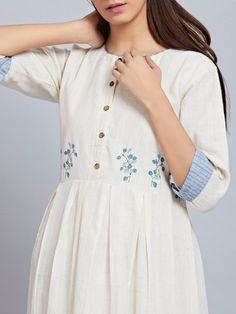 White Khadi Cotton Embroidered Pleated Dress is part of Dresses - Linen Dresses, Casual Dresses, Fashion Dresses, Kurta Designs Women, Blouse Designs, Kurta Neck Design, Embroidery Suits, Embroidered Clothes, Mode Hijab