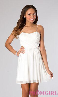Short Ivory Graduation Dress at PromGirl.com
