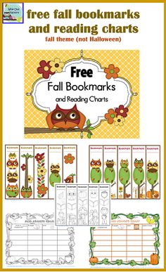 free fall bookmarks, reading charts, and graphing