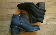 Silence & Noise Women's Leather Chunky Side Zip Ankle Boot Retail $99 size 7