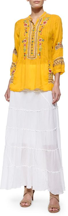 Johnny Was Collection Tiered Maxi Skirt, White on shopstyle.com