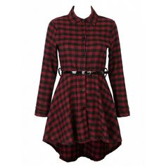 Choies Red Plaid Print Belted Waist Dipped Shirt Dress ($20) ❤ liked on Polyvore…