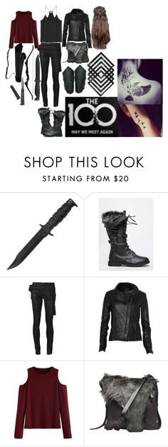 """""""The 100 Grounder Outfit (1)"""" by elizabethwoods809 ❤ liked on Polyvore featuring West Blvd, DRKSHDW, AllSaints and Henry Beguelin"""