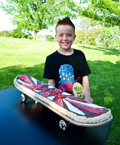 skateboard cake stand. I'm going to make this for John with rice crispies.
