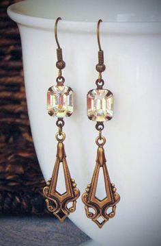 Art Deco Drop Crystal Earrings, Clear, Swarovski, Brass