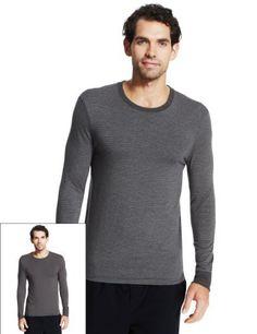 56c56a60f2 2 Pack Heatgen™ Striped Thermal Vests - Marks   Spencer