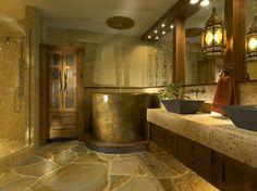 Rustic Interior Design Ideas Bathroom Deep Bathtub Black Over Mount Sinks For Amazing Bathroom Design With Rustic Theme Ideas