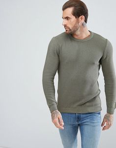 Pull&Bear Crew Neck Textured Sweater In Khaki #men #fashion #style #man #male #shoes #clothes Klick to see a Price