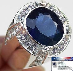 Men's 9.80 cts Genuine Blue Sapphire,Tanzanite & W.Topaz Ring 925SS S#10 NR #JPS #Gents