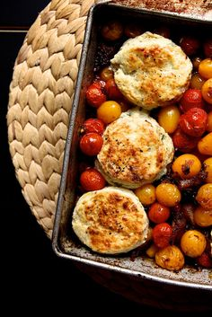 Tomato Cobbler with Blue Cheese Biscuits (note to me -  sub lard for the coconut oil and organic sugar for the xylitol)
