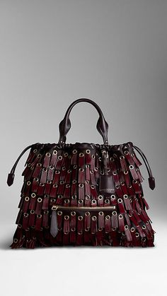 BURBERRY The Big Crush with Fringed Eyelets Fashion Handbags, Purses And Handbags, Fashion Bags, Leather Purses, Leather Bag, Leather Fringe, Real Leather, Leather Handbags, Burberry Handbags