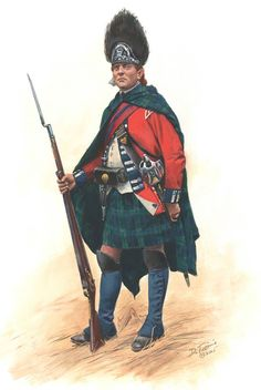 A Grenadier Sergeant of the Battalion of a Loyalist regiment, the Royal Highland Emigrants (later the Regiment of Foot) in 1777 during the American Revolution. It shows how the shoulder plaid could be let down to form a cloak or sleeping blanket.