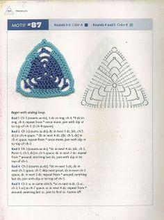 """"""" MOSSITA BELLA PATRONES Y GRÁFICOS CROCHET """": Triangles Beyond the Square Crochet Motif #74-87"""