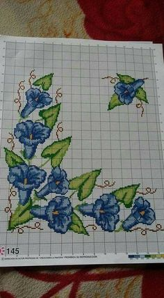 Diy Crafts - This Pin was discovered by Yas Cross Stitch Pattern Maker, Cross Stitch Borders, Modern Cross Stitch Patterns, Cross Stitch Flowers, Cross Stitch Kits, Cross Stitch Designs, Cross Stitching, Cutwork Embroidery, Cross Stitch Embroidery