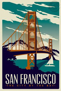 San Francisco Travel Poster Vintage Golden by RetroScreenprints