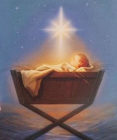 Holy Night- Baby Jesus on the first Christmas Night with the star of Christmas Christmas Jesus, Christmas Nativity, Christmas Art, Christmas Holidays, Christmas Night, Vintage Christmas Cards, Christmas Pictures, True Meaning Of Christmas, Happy Birthday Jesus
