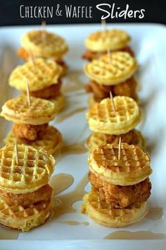 1.Slice your cooked chicken fingers into 3-4 pieces each. Break your cooked mini waffles apart. 2.Sandwich 1 piece of chicken between 2 mini waffles. Secure with a toothpick. Drizzle with maple syrup and serve warm. Notes Cook up as many waffles and chicken fingers as needed. As a rule of thumb, 1 chicken finger will get you about 3-4 sliders.