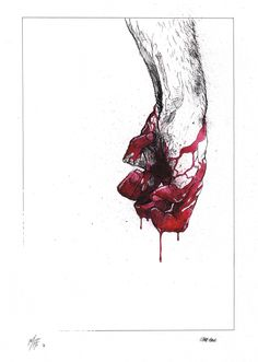 how to draw blood dripping from a heart