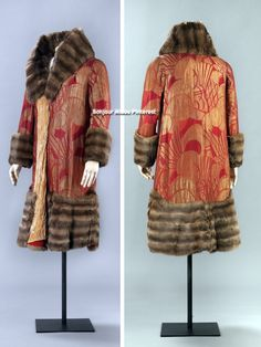 Coat ca. 1925. Silk and metal blended fabric, trimmed with fur. Lined with cut velvet, possibly a viscose/silk blend. Machine- and hand-stitched. National Museum for Art, Architecture, & Design, Norway