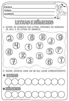 Atividade pronta - Separando Letras e números - A Arte de Ensinar e Aprender