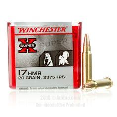 Winchester 17 HMR Ammo - 50 Rounds of 20 Grain JHP Ammunition #17HMR #17HMRAmmo #Winchester #WinchesterAmmo #Winchester17HMR #JHP #XSuper