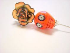 Orange and Black Day of the Dead Hat Pin Lapel Pin by PennysLane, $8.50