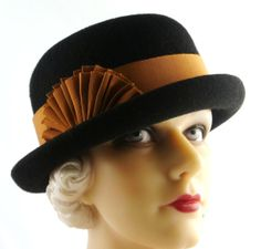 Art Deco 1930s Black Cashmere Bowler Dark Copper Band and Pleated Fan Ribbon on Etsy, $658.40 AUD