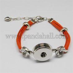 Pelle scamosciata del faux scatto stoffa braccialettoBJEW-R175-05-1
